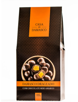 Damasco Drageado com Chocolate Meio Amargo